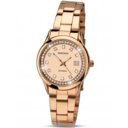 Sekonda Ladies Rose Gold Plated Stoneset Bracelet Watch 2304