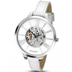 Sekonda Ladies Skeleton Dial White Strap Watch 2312