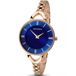 Sekonda Ladies Blue Dial Rose Gold Plated Bracelet Watch 2284