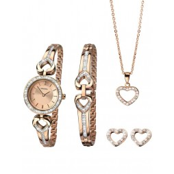 Sekonda Ladies Rose Gold Plated Open Heart Stone Set Gift Set 2363G