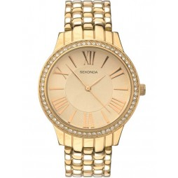 Sekonda Ladies Editions Gold Plated Stone Set Bracelet Watch 2398