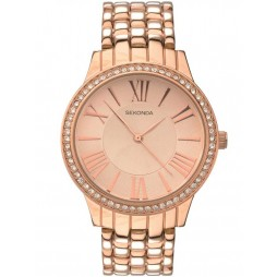 Sekonda Ladies Editions Rose Gold Plated Stone Set Bracelet Watch 2400