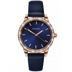 Sekonda Ladies Editions Rose Gold-Plated Blue Strap Watch 2453