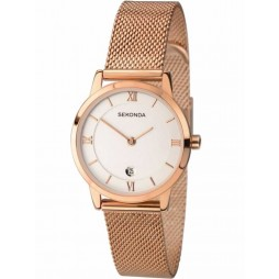 Sekonda Ladies Rose Gold-Plated Mesh Bracelet Watch 2482