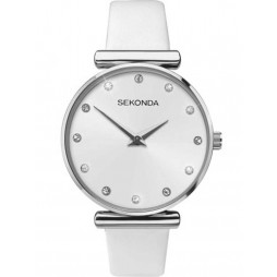 Sekonda Ladies White Stone Set Leather Strap Watch 2469