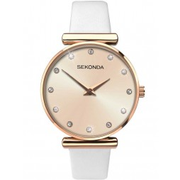 Sekonda Ladies Rose Gold Stone Set Leather Strap Watch 2472