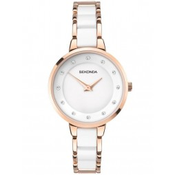 Sekonda Ladies Rose Gold Plated White Watch 2643
