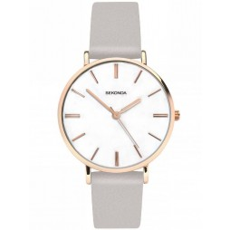 Sekonda Ladies Rose Gold Plated Grey Strap Watch 2635