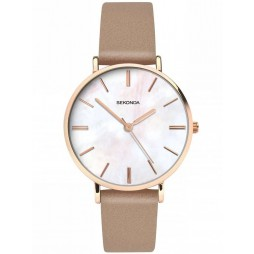 Sekonda Ladies Rose Gold Plated Beige Strap Watch 2634