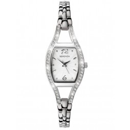 Sekonda Ladies Cubic Zirconia Set Rectangle Dial Bracelet Watch 4191