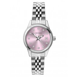 Sekonda Ladies Classic Stainless Steel Pink Stone Set Dial Bracelet Watch 2762