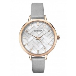 Sekonda Ladies Editions Rose Gold Plated Mother Of Pearl Dial Grey Leather Strap Watch 2827