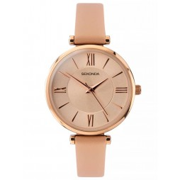 Sekonda Editions Ladies Rose Gold Plated Champagne Dial Pink Leather Strap Watch 2845