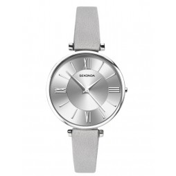 Sekonda Ladies Editions Silver Sunray Dial Grey Leather Strap Watch 2843