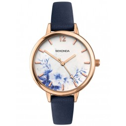 Sekonda Ladies Editions Rose Gold Plated White Floral Dial Dark Blue Leather Strap Watch 2940