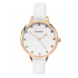 Sekonda Ladies Editions White Patterned Multicoloured Stone Set Dial White Leather Strap Watch 2946
