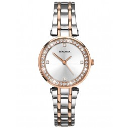 Sekonda Ladies Silver Sunray Stone Set Dial Rose Gold Plated Two Tone Bracelet Dress Watch 2541