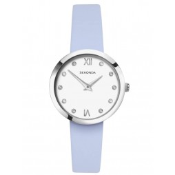 Sekonda Ladies White Stone Set Dial Light Blue Leather Strap Watch 2761