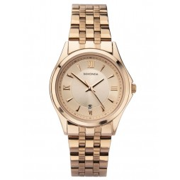 Sekonda Ladies Rose Date Dial Rose Gold Plated Bracelet Watch 2882