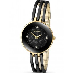 Sekonda Ladies Editions Stone Set Black Glitter Dial Two Tone Gold Plated Bracelet Watch 2109