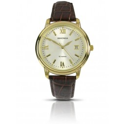 Sekonda Mens Classic Gold Plated Champagne Date Dial Brown Leather Strap Watch 3779