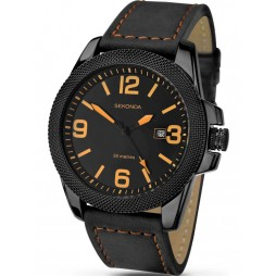 Sekonda Mens Black Leather Strap Date Watch 1061