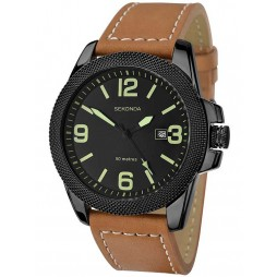 Sekonda Mens Brown Leather Strap Date Watch 1062