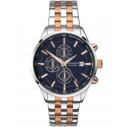 Sekonda Mens Velocity Two Tone Rose Gold Plated Silver Chronograph Bracelet Watch 1107