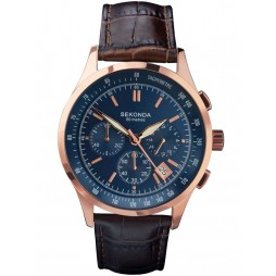 Sekonda Mens Rose Gold Plated Blue Chronograph Watch 1157