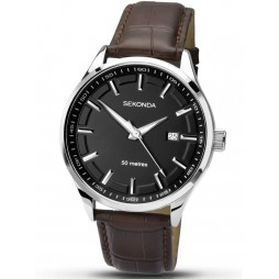 Sekonda Mens Brown Leather Strap Watch 1175