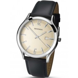 Sekonda Mens Stainless Steel Black Leather Strap Watch 1183
