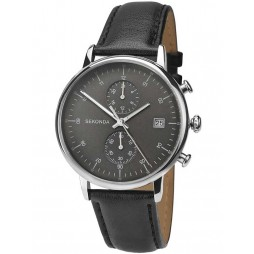 Sekonda Mens Black Leather Strap Watch 1193