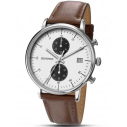 Sekonda Mens Brown Leather Strap Watch 1194