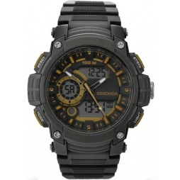 Sekonda Mens Black Analogue Digital Strap Watch 1229