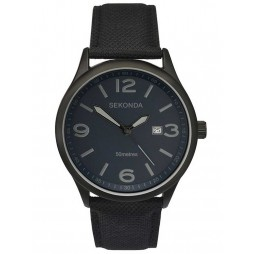 Sekonda Mens Black IP Fabric Strap Watch 1369