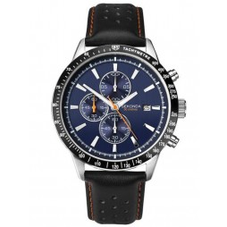 Sekonda Mens Steel Chronograph Leather Strap Watch 1377