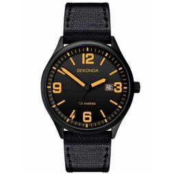 Sekonda Mens Black IP Fabric Strap Watch 1388