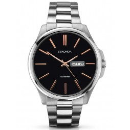 Sekonda Mens Black Stainless Steel Bracelet Watch 1097