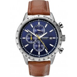 Sekonda Mens Chronograph Blue Leather Strap Watch 1374
