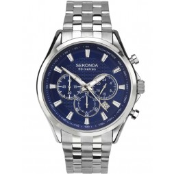 Sekonda Mens Chronograph Blue Stainless Steel Bracelet Watch 1393