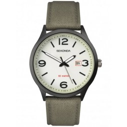 Sekonda Mens Casual White Luminous Dial Green Fabric Strap Watch 1507