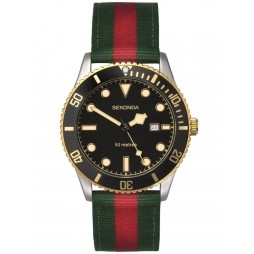 Sekonda Mens Green Red Fabric Watch 1579