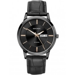 Sekonda Mens Black Leather Watch 1577
