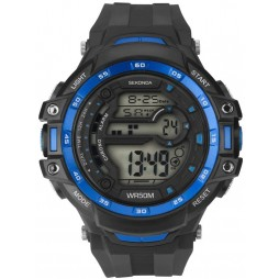 Sekonda Mens Black Blue Rubber Digital Watch 1520