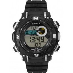 Sekonda Mens Black Silver Rubber Digital Watch 1524