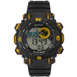 Sekonda Mens Black Yellow Rubber Digital Watch 1526