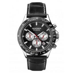 Sekonda Mens Dual Time Chrono Black Dial Leather Strap Watch 1648
