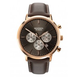 Sekonda Mens Dual Time Rose Gold Plated Chrono Brown Leather Strap Watch 1659