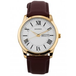 Sekonda Mens Classic Gold Plated White Dial Brown Leather Strap Watch 1639