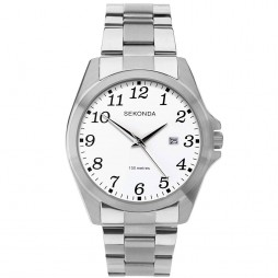 Sekonda Mens White Dial Full Figure Bracelet Watch 1635